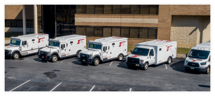 Security trucks parked